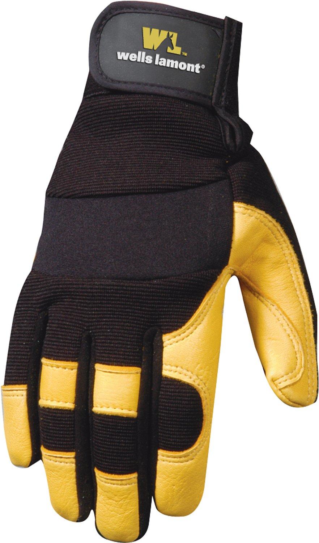 Ultra Comfort Grain Deerskin Work Gloves, Adjustable Wrist, Spandex Back, Large (Wells Lamont 3210L)