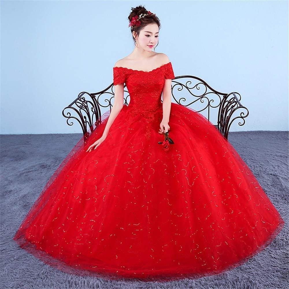 YUEZHANG Robe Soirée,Robe De Mariée Mariée Mot Épaule Dentelle Mince Mode Élégante Robe Red