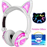 Qiwoo Kids Headphones with Cat Ear USB Rechargeable Adjustable LED Light Up Wired Over Ear Headphones 85dB Volume Limited Compatible for iPad Tablet for Easter Theme Party Favor (2-Pink)
