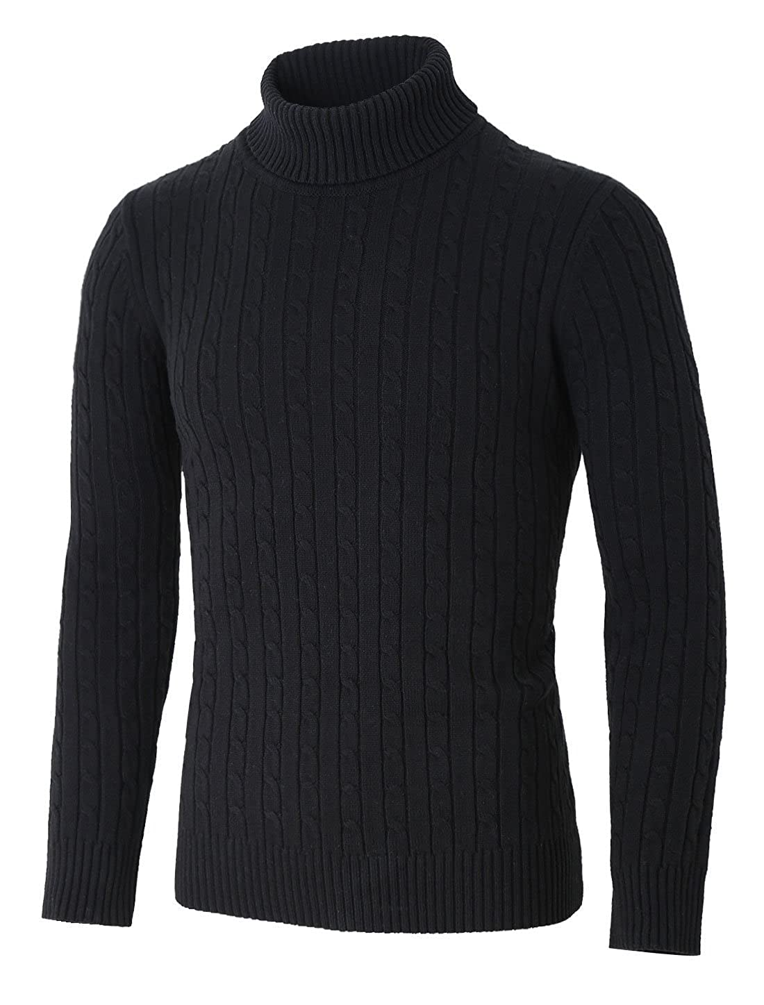 uxcell Men Turtleneck Long Sleeves Pullover Cable Knitted Sweater g16120700ux0014