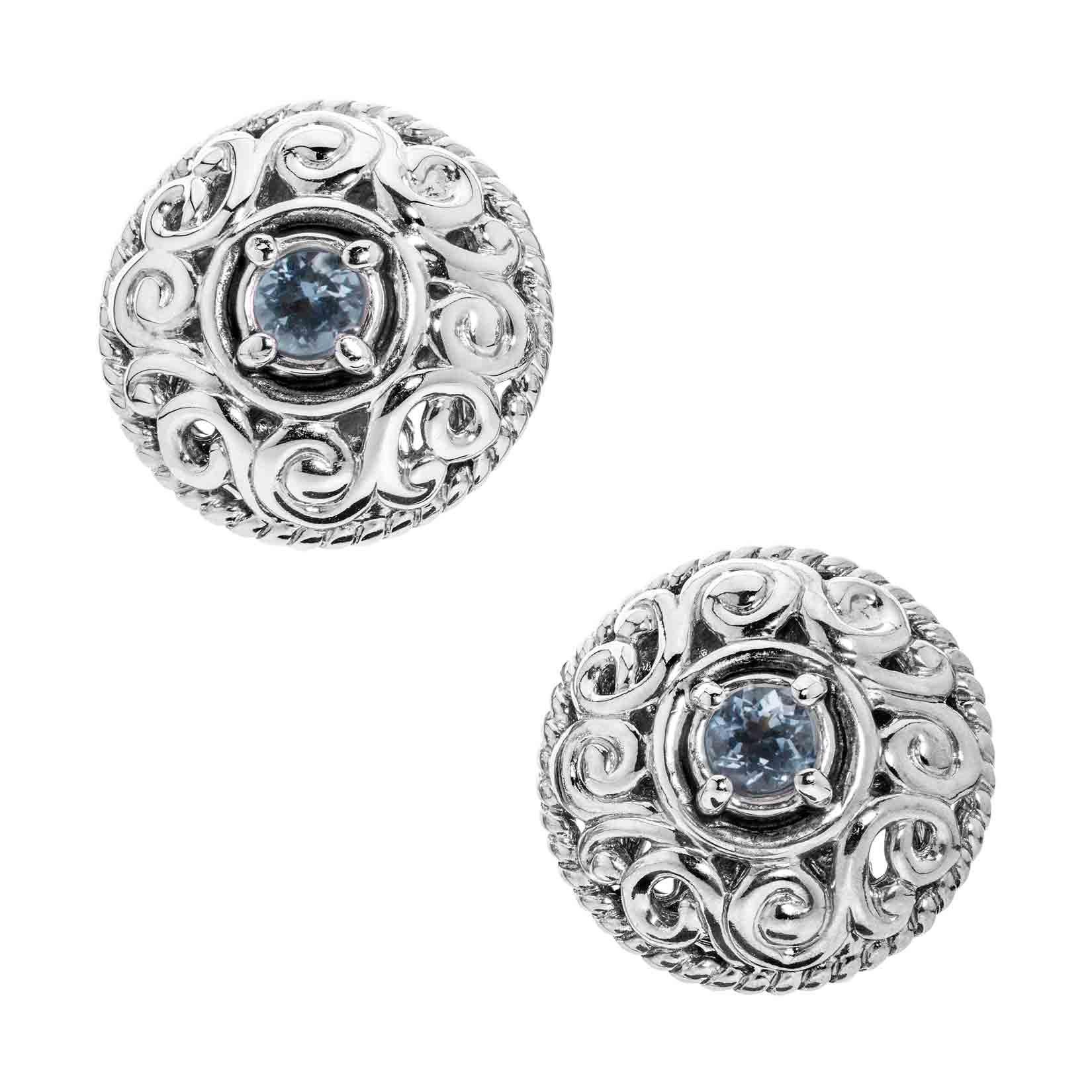 Carolyn Pollack Genuine .925 Sterling Silver Blue Aquamarine Birthstone Button Earrings