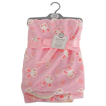 Brand new in pack Snuggle Baby wrap//blanket in grey with pink circles 75 x 100cm