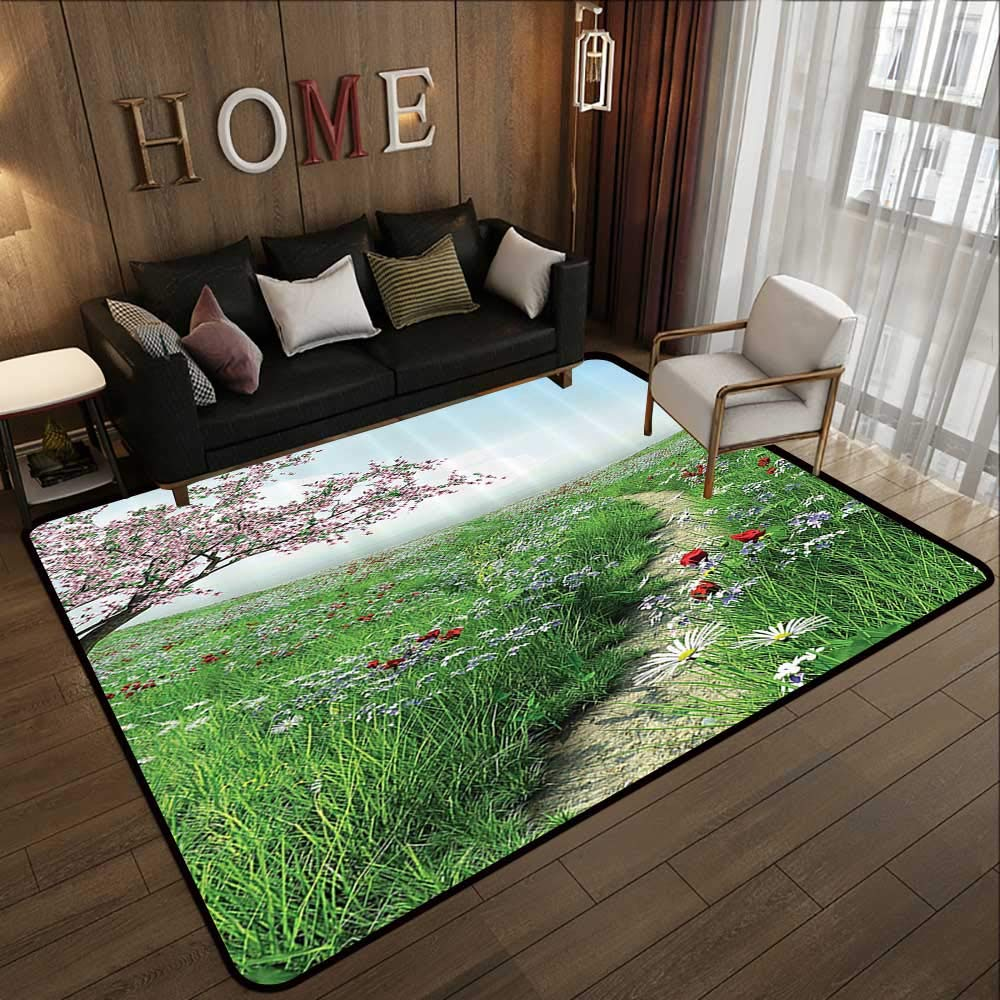 Pattern04 59 x 71 (W150cm x L180cm) All Weather Floor mats,Poppy Decor,colorful Combined Mixed Poppy Flower Petals Pattern Spring Garden Theme Paint Effect Style,bluee Red 63 x 94  Multi-USE Floor MAT