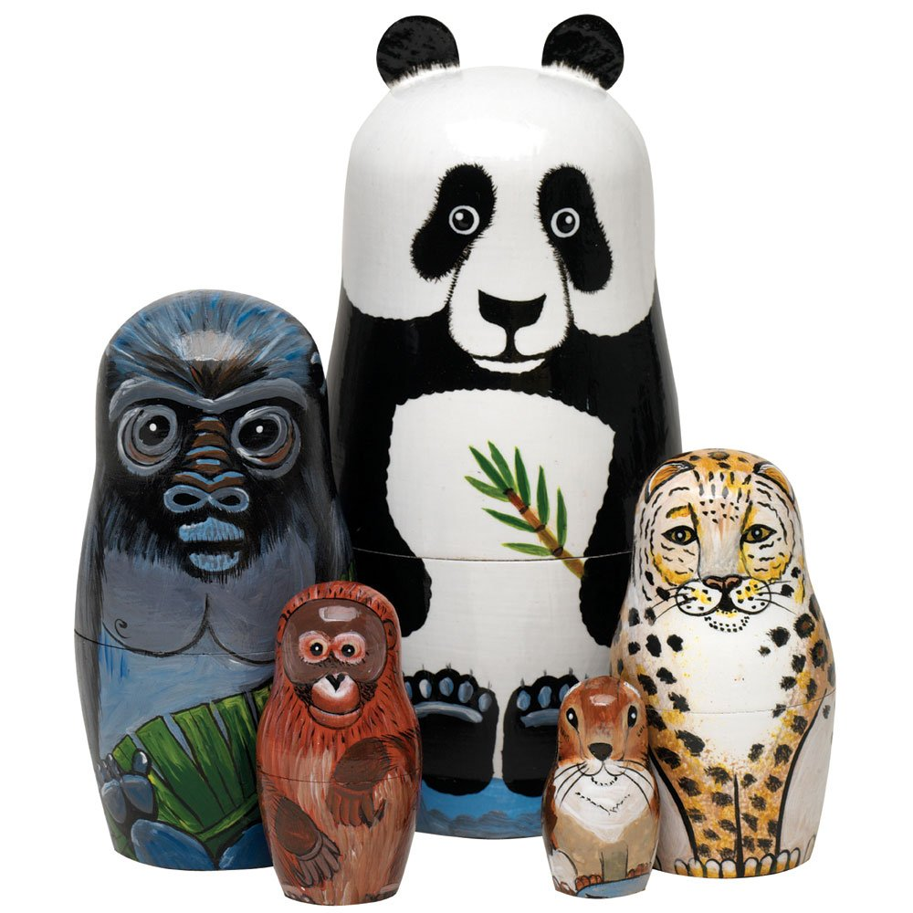 Bits and Pieces - Nesting Endangered Species-Hand Painted Wooden Nesting Dolls - Set of 5 Dolls from 5.5'' Tall by Bits and Pieces (Image #2)