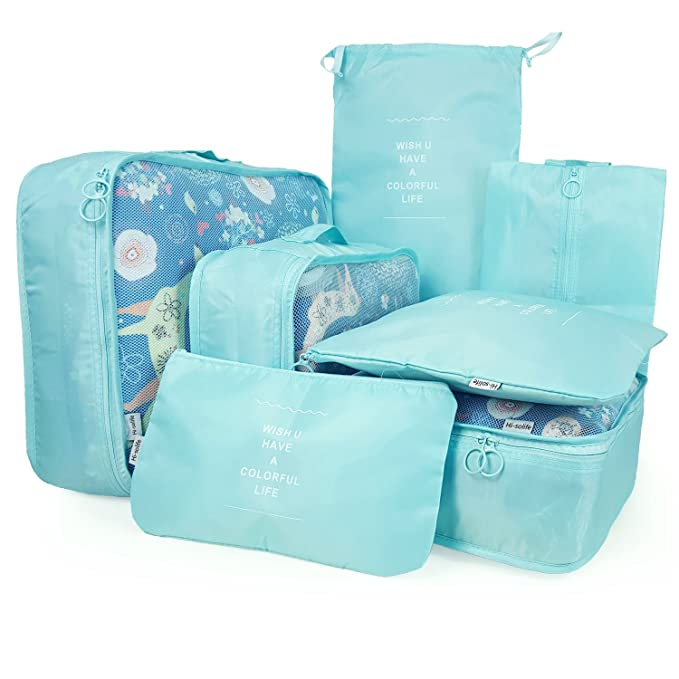 Packing Cubes Travel Organizers Clothes Storage Bags For Luggage Suitcase  (7 Pieces, Cyan Blue