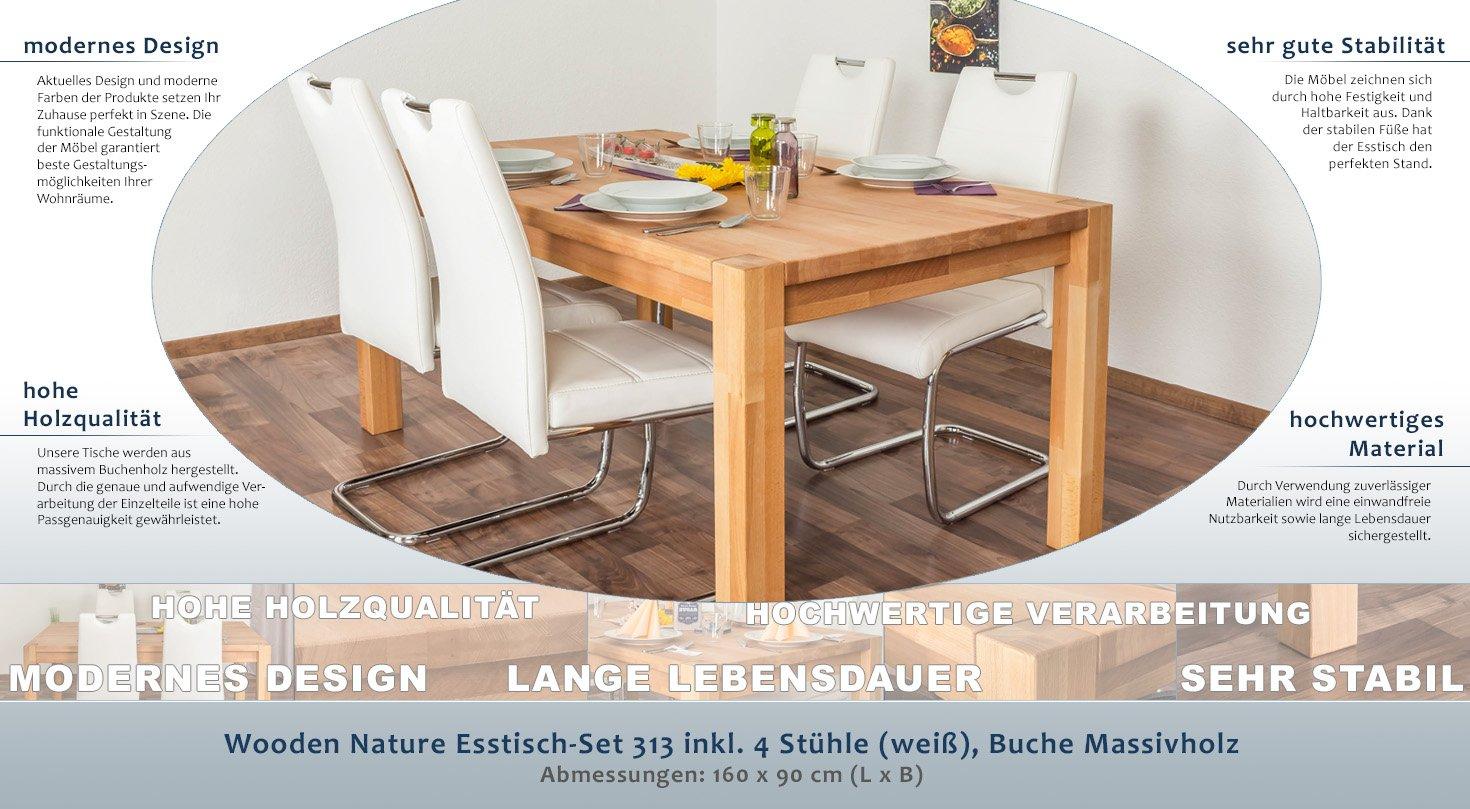 Wooden Nature Esstisch-Set 313 inkl. 4 Stühle (weiß), Buche ...