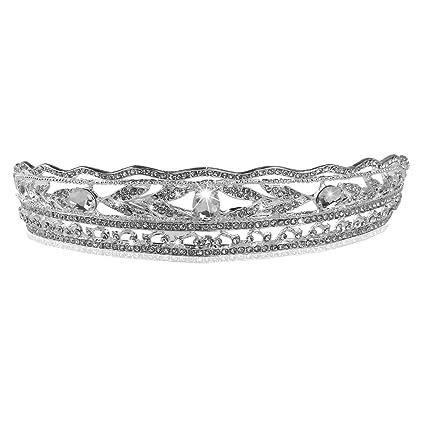 PIXNOR Tiara de Novia Nupcial Diadema Joyas para Pelo Mujer con Flor  Diamantes de Imitación ac6cacceab15