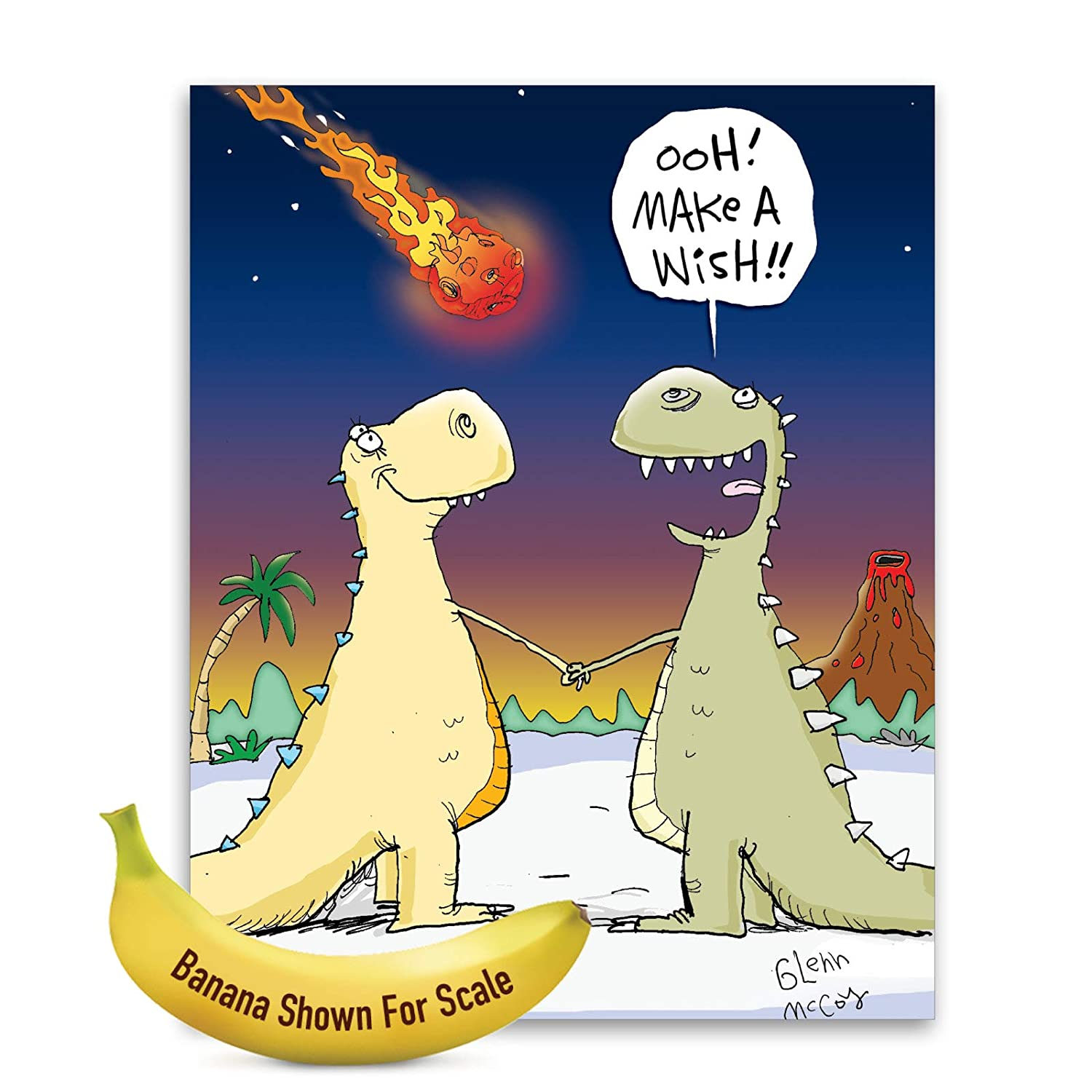 3 Pack of Jumbo - Make A Wish' Happy Birthday Greeting Card with Envelope  8.5 x 11 Inch - T-Rex Dinosaur Cartoon, Falling Star - Fun Jurassic Animal  ...