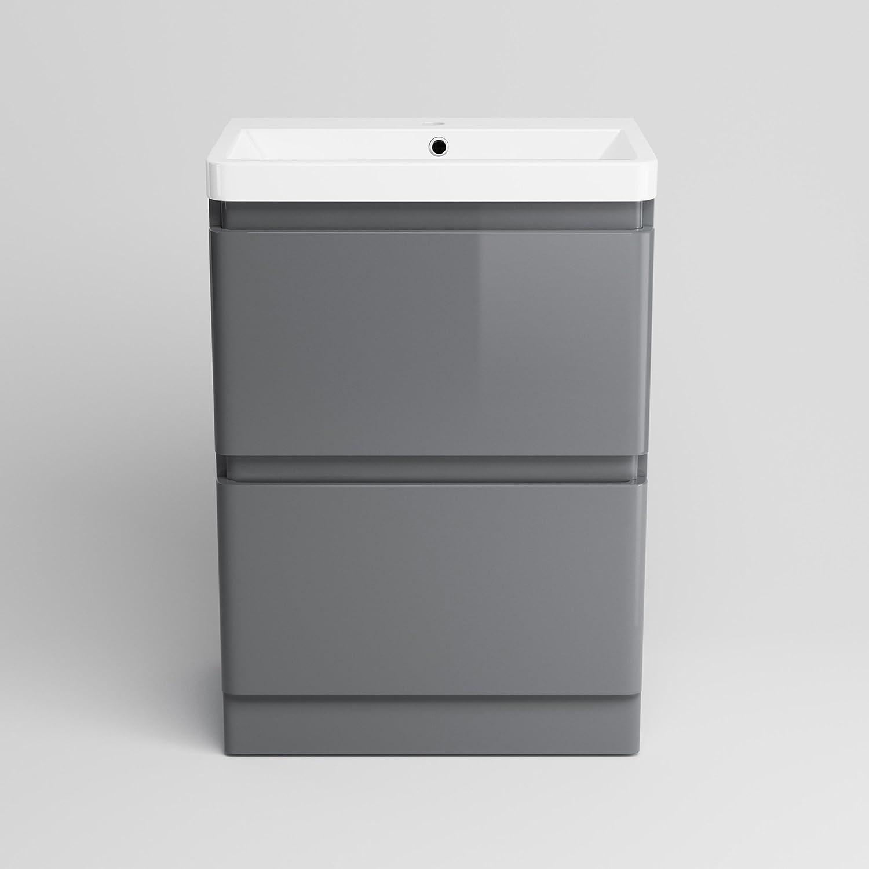 600 mm White Vanity Sink Unit Ceramic Basin Bathroom Drawer Storage Furniture