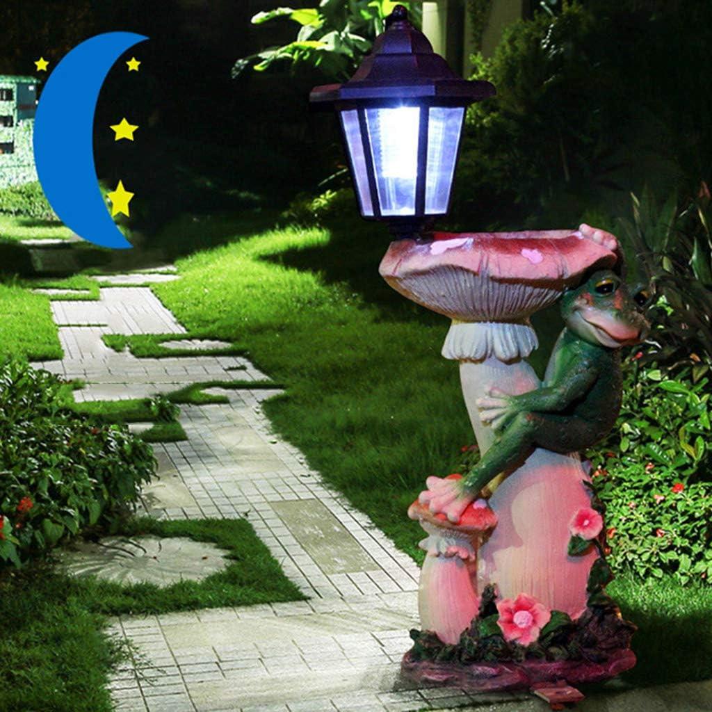 AIBAB Luz Solar De Conejo Exterior Iluminación Bokeh LED Escultura De Resina De Jardín Comedero De Rana Decoraciones De Jardin B: Amazon.es: Jardín