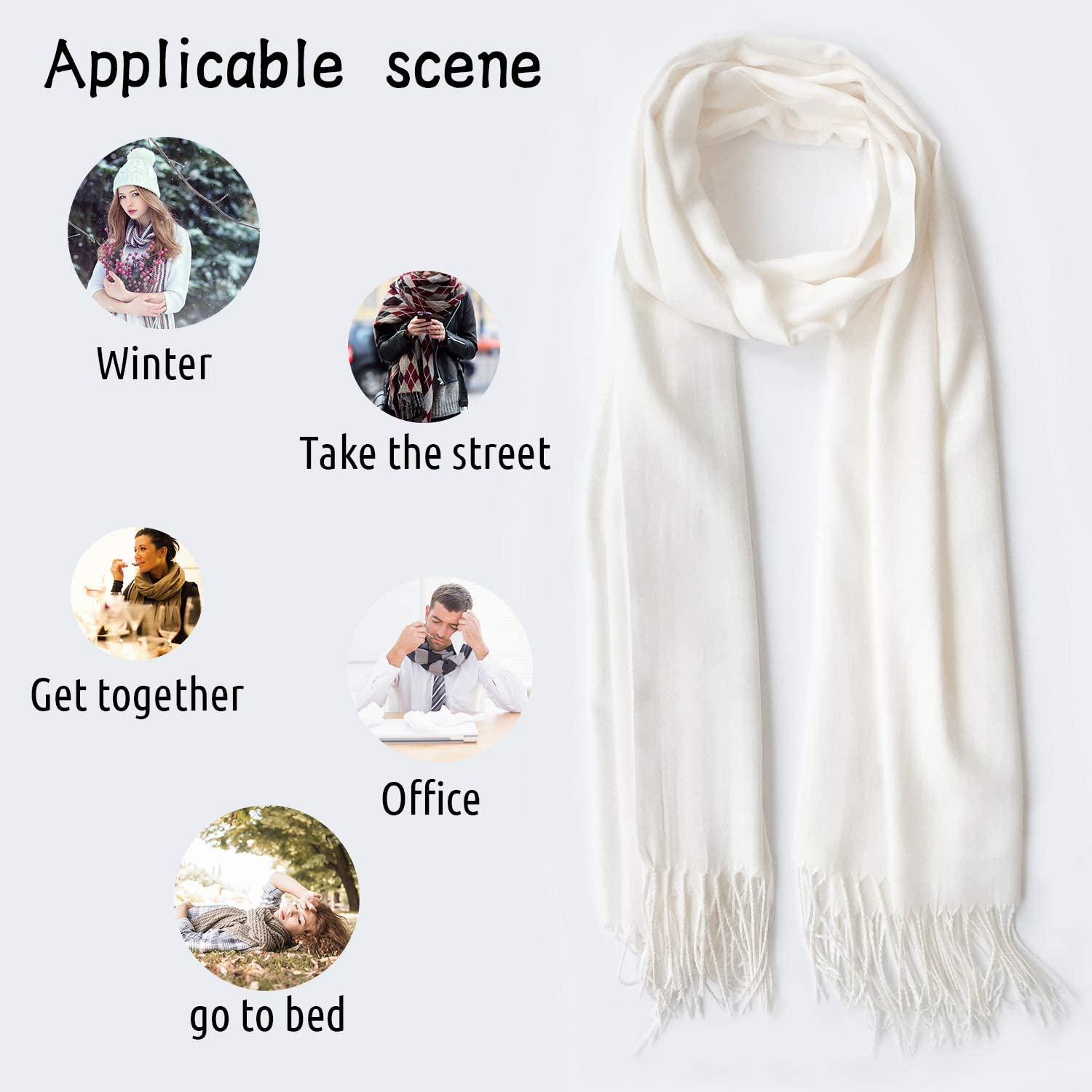 White Cashmere Feel Scarves with Tassels for Men Women