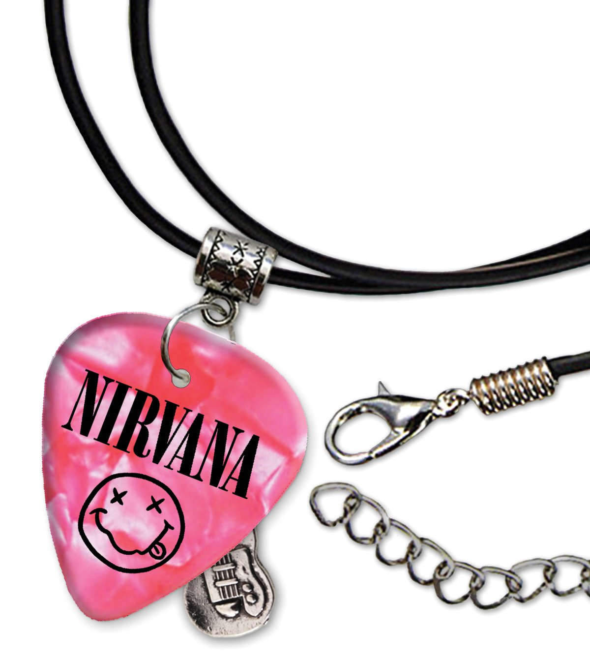Nirvana Band Logo Pink Collana di corda di chitarra plettro (H) We Love Guitars