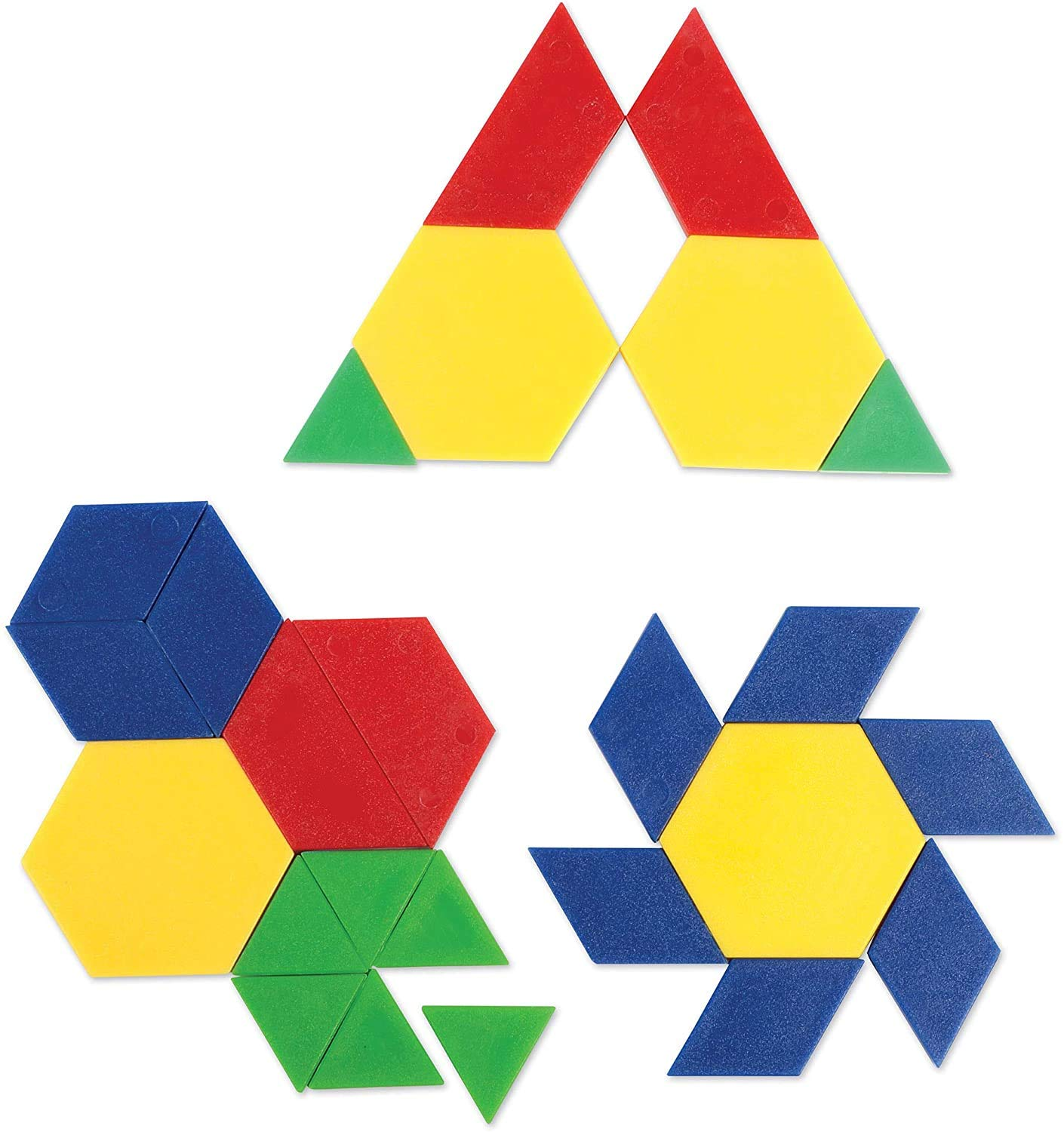 Learning Resources Plastic Pattern Blocks .5cm, Counting & Sorting, Early Math Concepts, Set of 100 Blocks, Grades PreK+Ages 3+