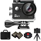 NPET AC7500 Wifi Sport Action Camera 4K 12MP 170 Degree Wide Angle Ultra HD Waterproof DV Camcorder LCD Screen Remote APP Control With Carrying Case Black