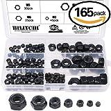 Hilitchi 165-Pcs Black Zinc Plated Nylon Insert Hex Lock Nuts Assortment Kit