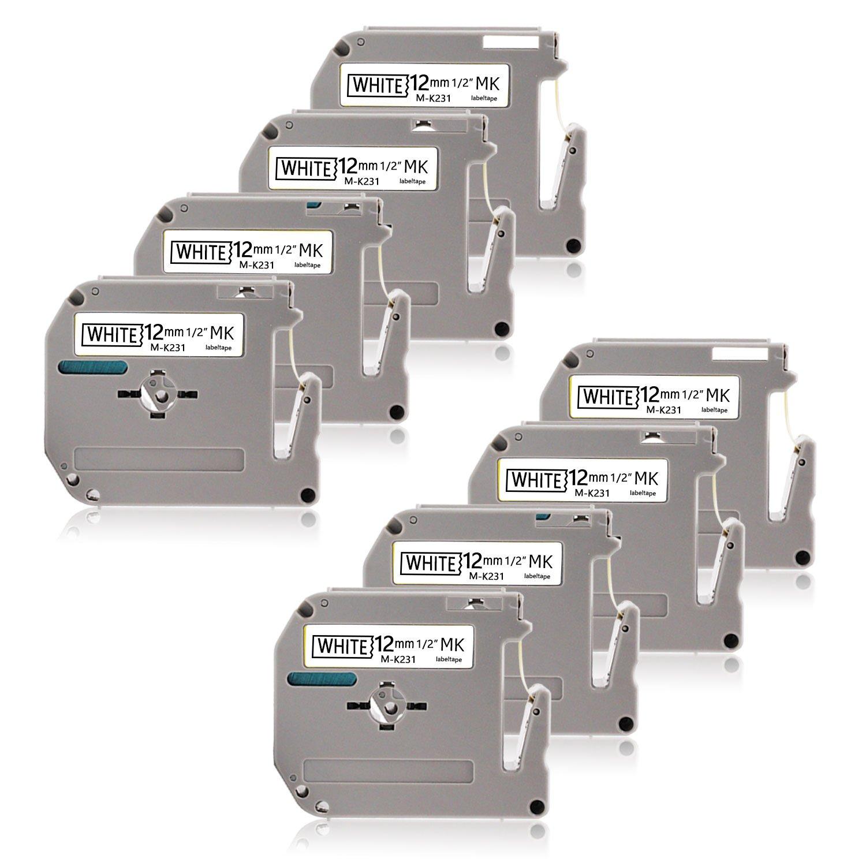 Unismar Compatible Brother M-K231 MK231 M231 P-Touch Label Tape for Brother P-Touch PT-90 Label Tape PT-65 PT-55 PT-70 PT-80 PT-85 PT-90 PT-100 PT-M95, Black on White 12mm (1/2'') X 8m (26.2ft) 8 Pack