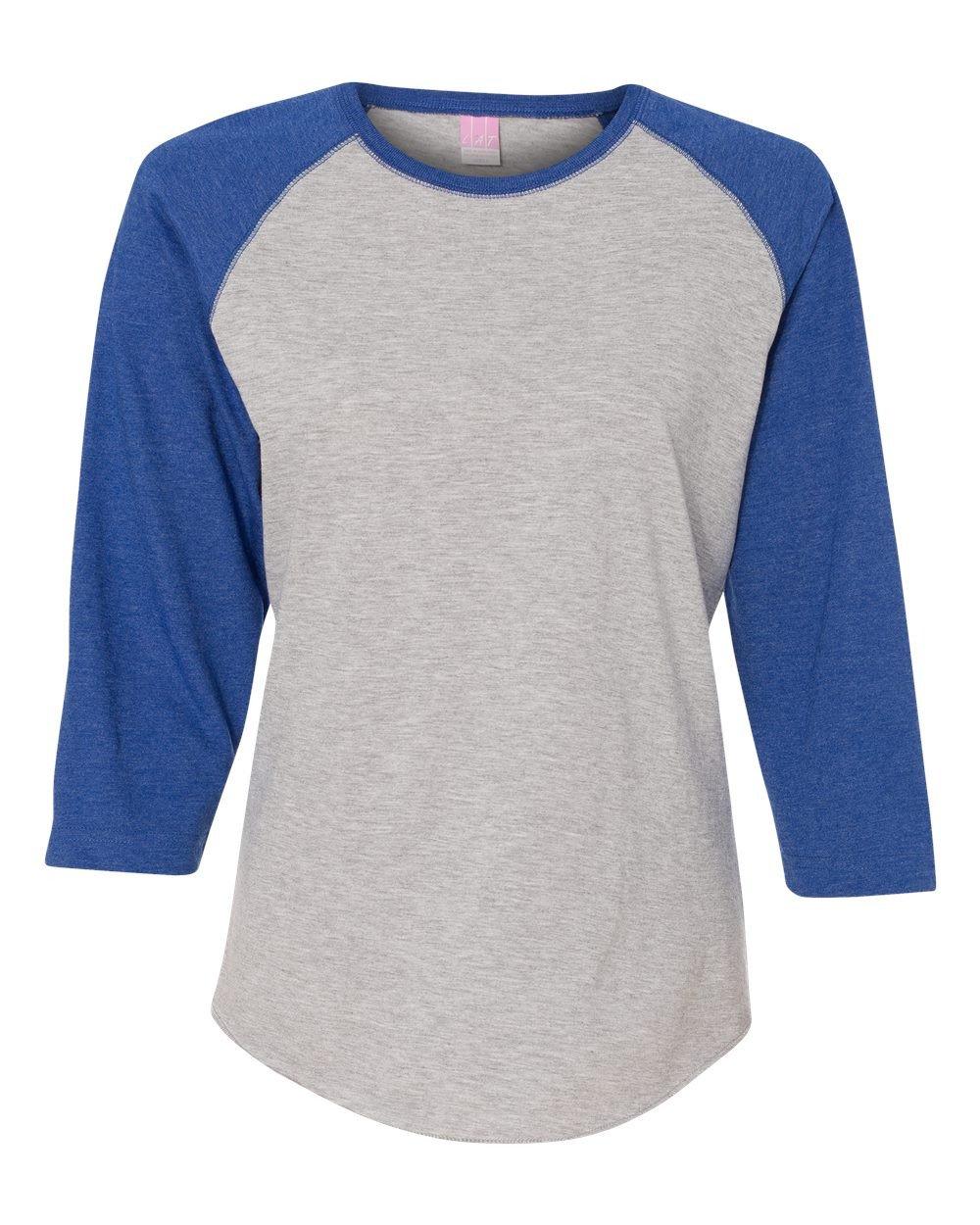 LAT-Ladies' Fine Jersey Baseball T-Shirt-3530-MD-Vntge Hthr- Vntge Royal
