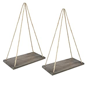 "Y&ME Wood Rope Hanging Floating Shelves Set of 2, Rustic Wood Hanging Shelf with 4 Hooks,Wall Hanging Rope Shelves for Living Room, Bedroom, Bathroom and Kitchen 17"" x 8"" x 0.7"",Brown Shelf"