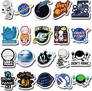 20 PCS Stickers Pack Hitchhikers Aesthetic Guide Vinyl to Colorful The Waterproof Galaxy for Water Bottle Laptop Bumper Car Bike Luggage Guitar Skateboard