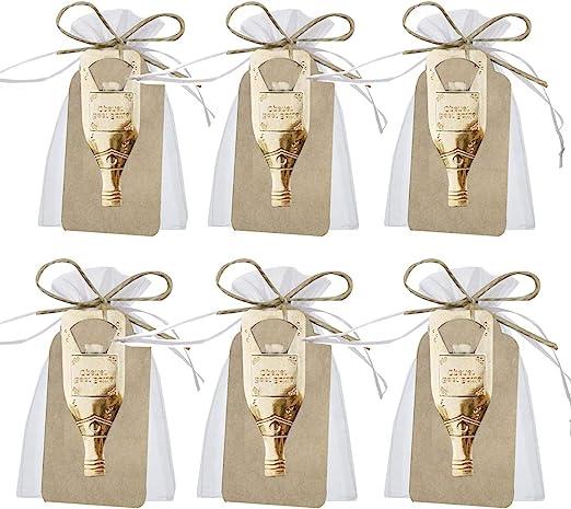 Awtlife 50 Pcs Vintage Key Bottle Open and Sheer Bag for Wedding Party Favors 5 Style