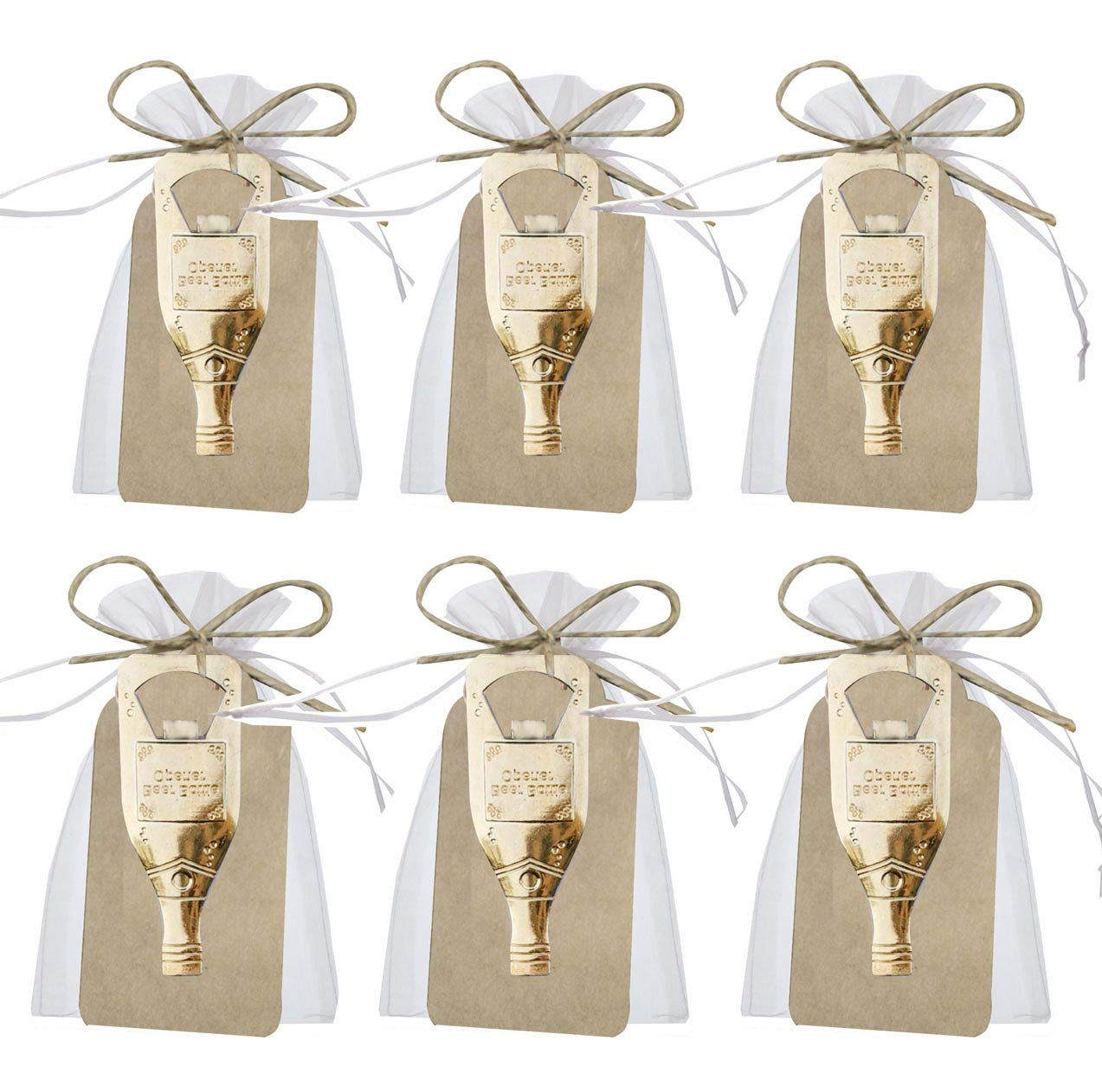 Awtlife 30 Pcs Rustic Vintage Beer Key Bottle Opener with Card Tag and Sheer Bag for Beer Wedding Party Favors