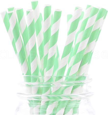 Biodegradable Drinking Straws 100 Mint Polka Dot Paper Straws