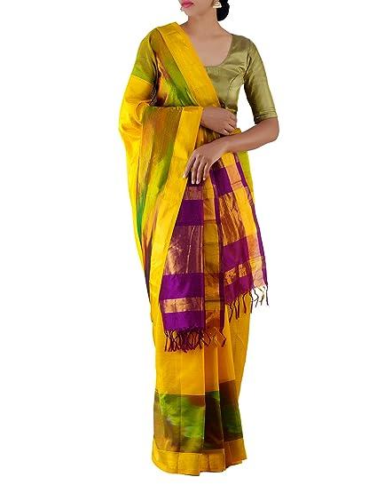 d811b4db12 Unnati Silks Women Yellow-Purple Pure Handloom Pochampally Ikkat Pattu Saree:  Amazon.in: Clothing & Accessories