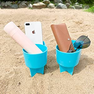 Home Queen Spiker Beach Cup Holder with Pocket, Multi-Functional Sand Cup Holder for Beverage Phone Sunglasses Key, Beach Accessory Drink Sand Coaster, 2-Pack, Blue