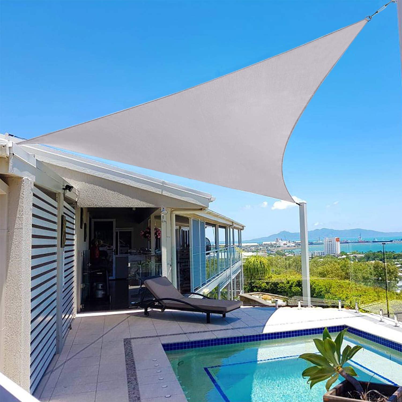 COOLYARD Shade Sail Triangle 16'x16'x16' Sun Shades Canopy UV Block Canopy for Patio Backyard Lawn Garden Outdoor Activities,Gray