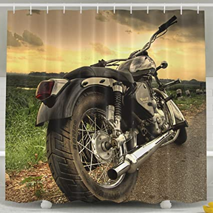 Silver Cruiser Motorcycle Shower Curtain Repellent Fabric Mildew Resistant Machine Washable Bathroom Anti Bacterial Polyester