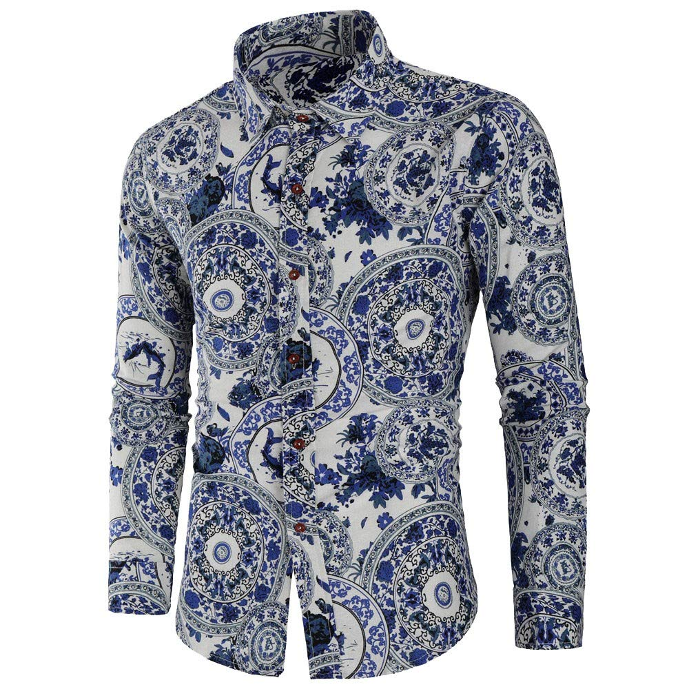 Mens Dress Shirts, Blue and White Porcelain Print Long Sleeve Shirt Slim Fit Blouse Top Zulmaliu