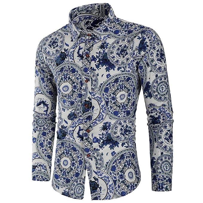 Batnott Herren Hemd Men Herbst Winter Casual Blaues und weißes Porzellan  Gedruckt Slim Fit Langarm T-Shirt Top Bluse Männer Trend Regular Fit Shirts  Hemden ... 991379939d