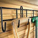 garden tool wall storage. extra-long tool rack in black powder coating garden wall storage