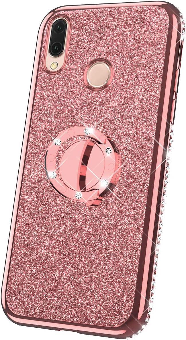 JAWSEU Funda Compatible con Huawei P20 Lite Brillante Brillo Suave Silicona TPU Gel Parachoques Funda con Anillo Bling Diamantes Ultra-Delgada Enchapado Transparente Protectora Carcasa,Oro Rosa