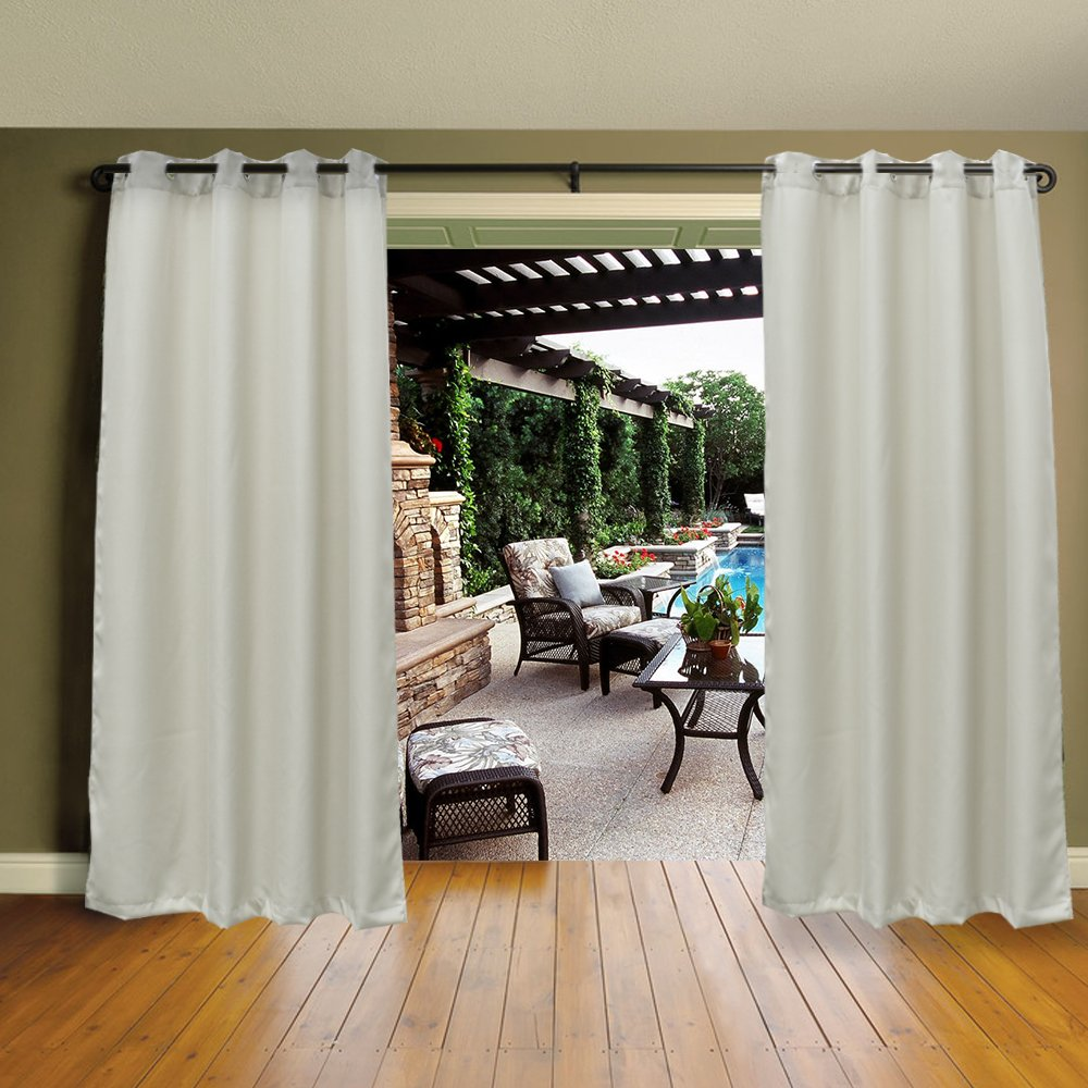 Mildew Resistant Thermal Insulated Grommet Top Indoor/Outdoor Curtain/Exterior Shades/Blinds,Stripe,Drapes for Patio Porch Door Pergola,Cabana,Gazebo,Dock Beach Home,Pearl White (54''x 96'')