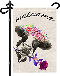 Summer Garden Flag, Welcome home flag, Cow Garden Decor Flag with Double-sided pattern, Vertical Yard flag 12X18 Inch, Waterproof decoration Yard flag for Garden, Window, Durable Summer Garden Flag