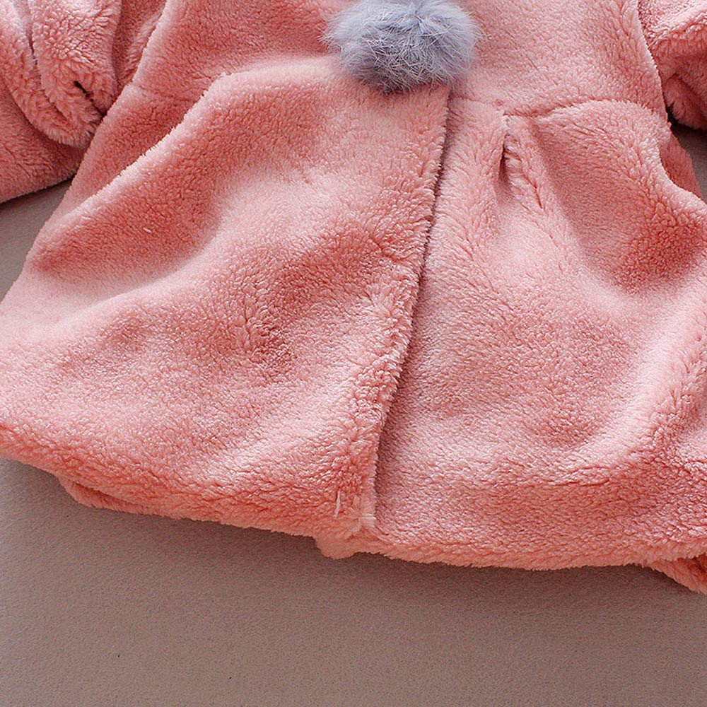Baby Warm Coat 0-24 Months Girls Venonat Rabbit Ears Hooded Keep Jacket Clothes