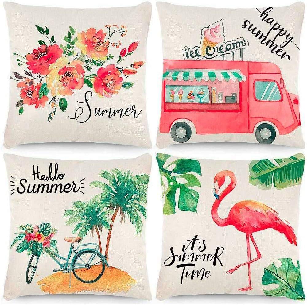 CDWERD 4pcs Summer Throw Pillow Covers 18x18 Inches Summer Decorations Ice Cream Truck Bike Flamingo Flower Farmhouse Pillowcase Cotton Linen Cushion Case for Summer Home Decor