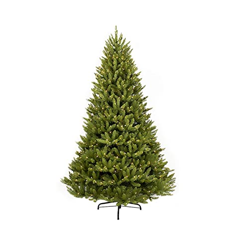 the latest bb744 18f66 Puleo International 10 Foot Pre-Lit Fraser Fir Artificial Christmas Tree  with 1,300 Clear Lights, Green