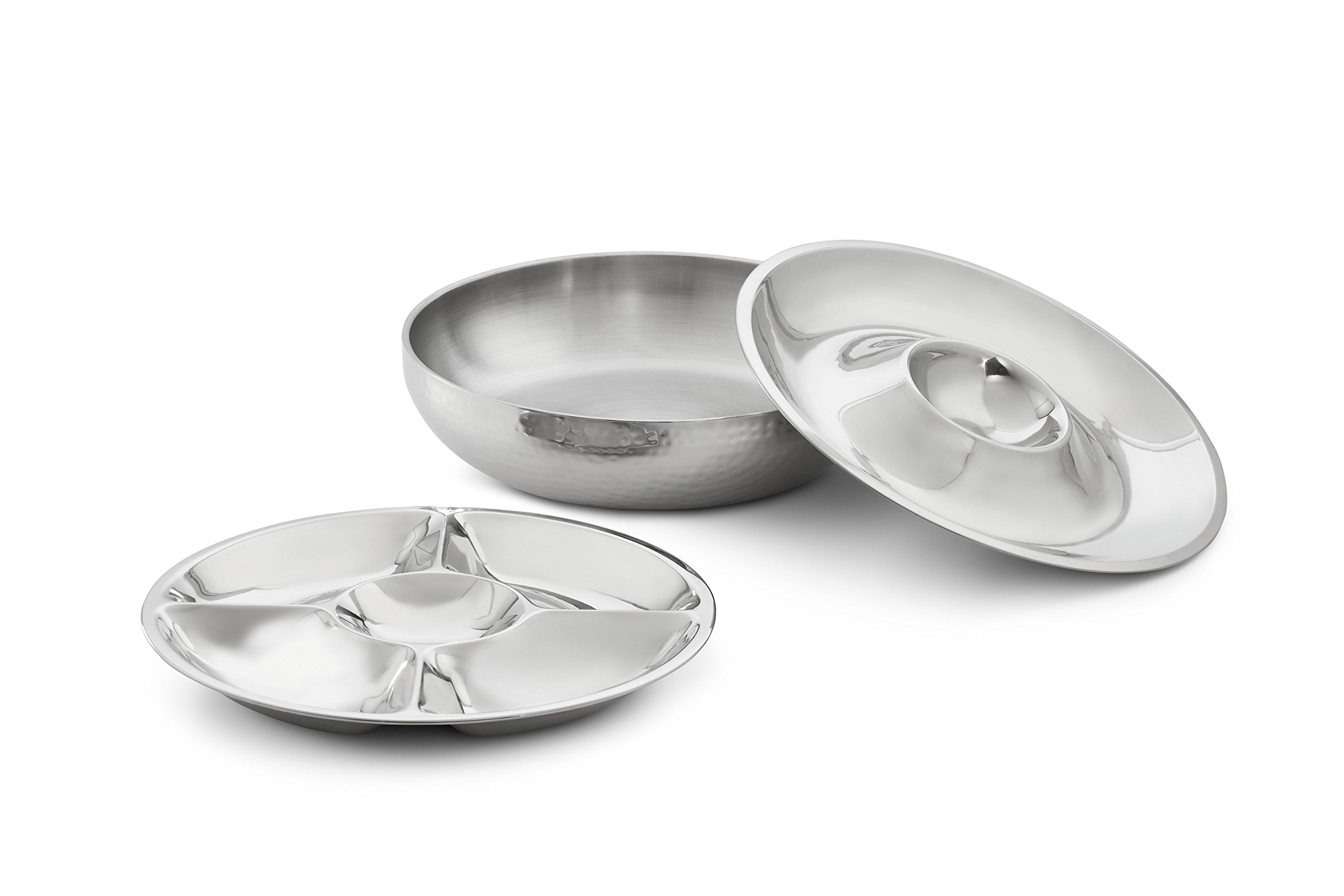 Artisan 3-Piece Stainless Steel Serving Bowl with 2-Section and 5-Section Top Trays and Insulated Lower Bowl by NUCU