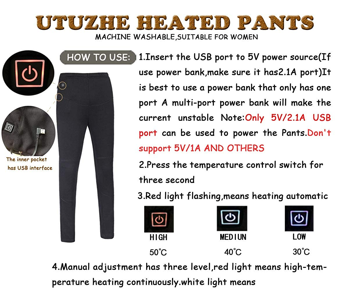717072cdd7152 UTUZHE Women's Heating Pants USB Outdoor Warm Leggings Protective Belly Leggings  Thick Wool Lining at Amazon Women's Clothing store: