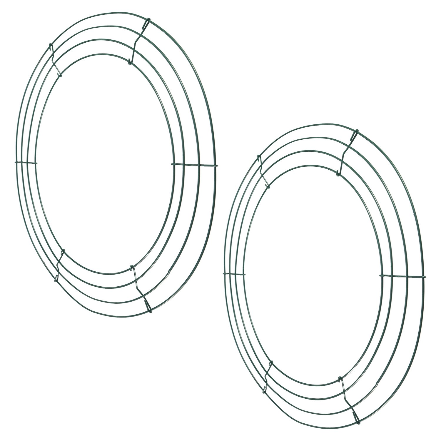 2 Pack Metal Wire Wreath Frame 14 Inch Deep Green Wire Rings for Christmas Holidays Floral Arrangements Home Party Decorations BBTO