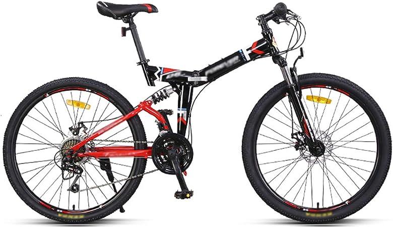 Bicicleta de montaña con frenos de disco doble de 24 pulgadas, bicicleta plegable para hombres adultos y mujeres adolescentes, mini bicicleta plegable ligera para estudiantes, trabajadores de oficin: Amazon.es: Hogar