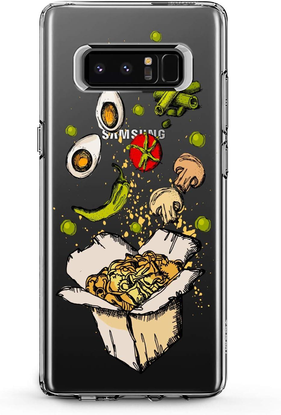 Anreda TPU Case Compatible with Samsung Galaxy J8 J7 Prime J6 Plus J5 J4 Core J2 Beans Smooth Food Print Slim fit Flexible Lunchbox Desig Lady Pasta Fresh Soft Girl Eggs Cover Pepper Gift Clear Design