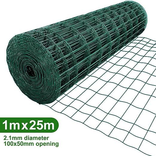 Amagabeli 1M X 25M Malla de Alambre Cuadrada Verde – RAL6005 Malla Tamaño 50 x 100 mm Rollo de Malla de Alambre Valla Jardín Alambrada HC04: Amazon.es: Bricolaje y herramientas