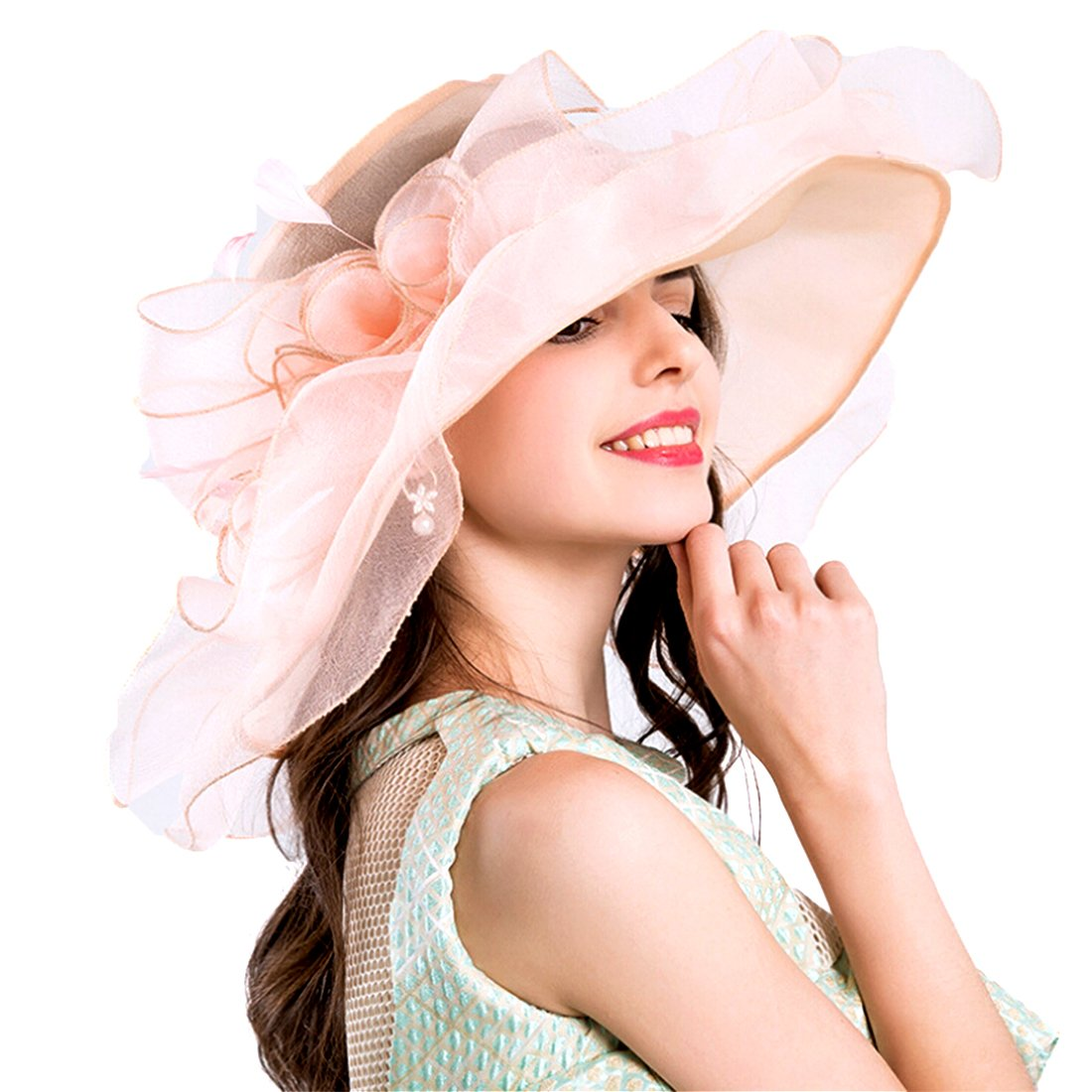 Women Foldable Organza Church Derby Hat Ruffles Wide Brim Summer Bridal Cap for Wedding Tea Party Beach (Pink-a)