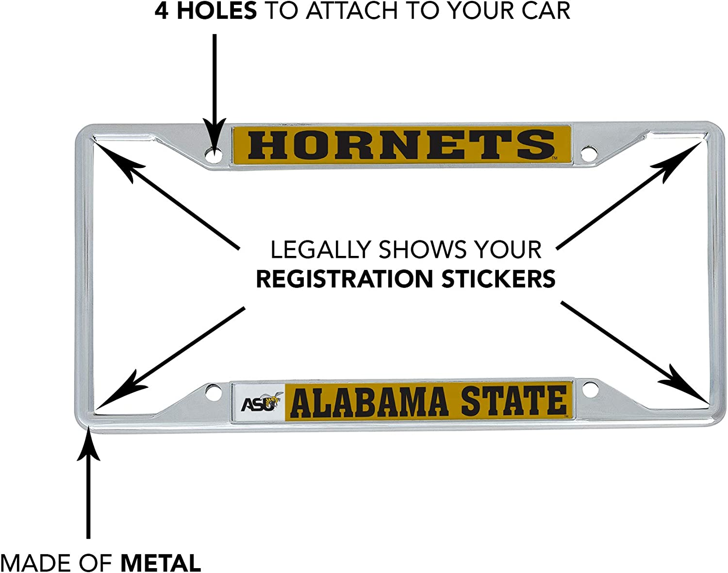 Desert Cactus Alabama State University ASU Hornets NCAA HBCU Metal License Plate Frame for Front Back of Car Officially Licensed Mascot