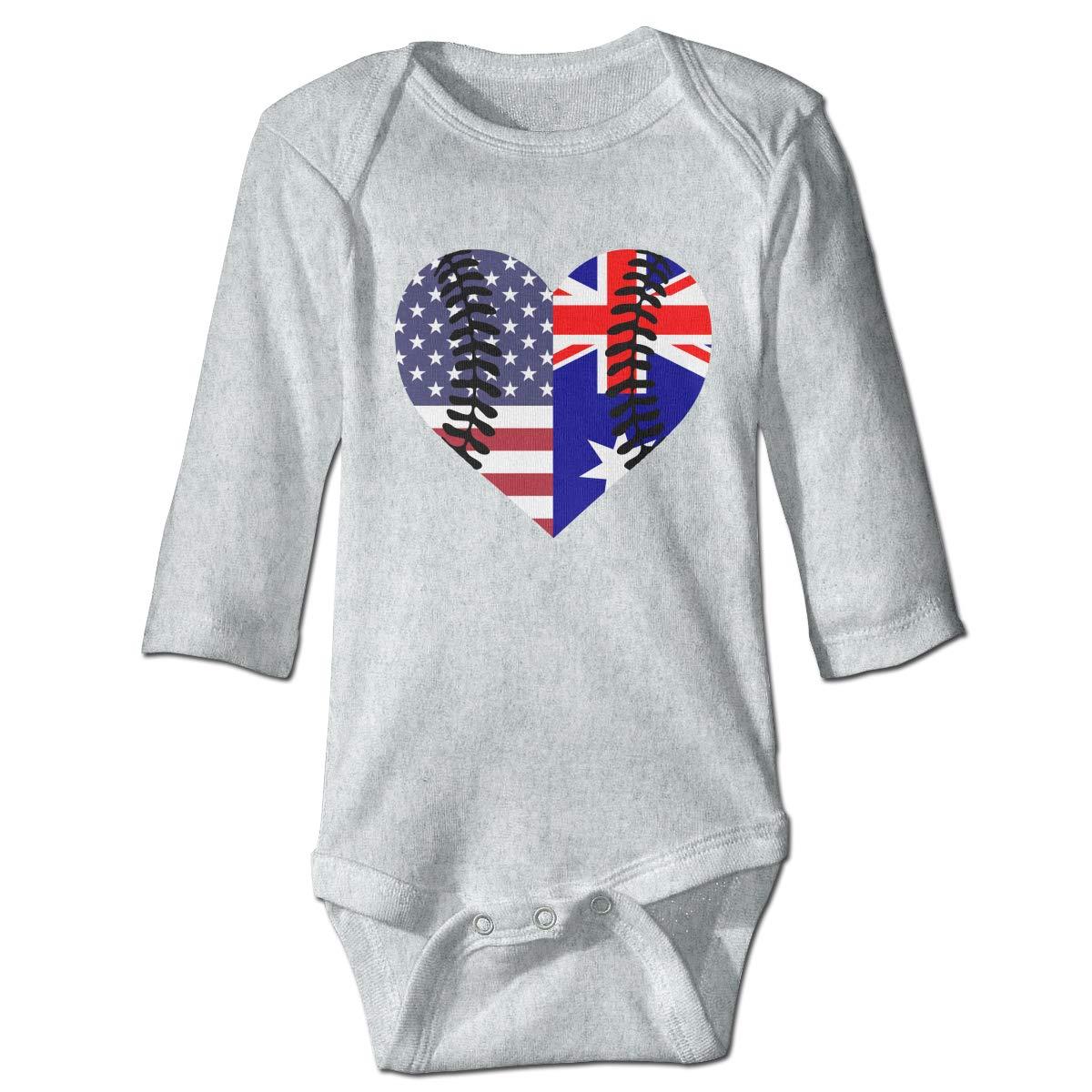 A14UBP Newborn Baby Boys Girls Long Sleeve Romper Bodysuit Australian USA Flag Half Baseball Unisex Playsuit