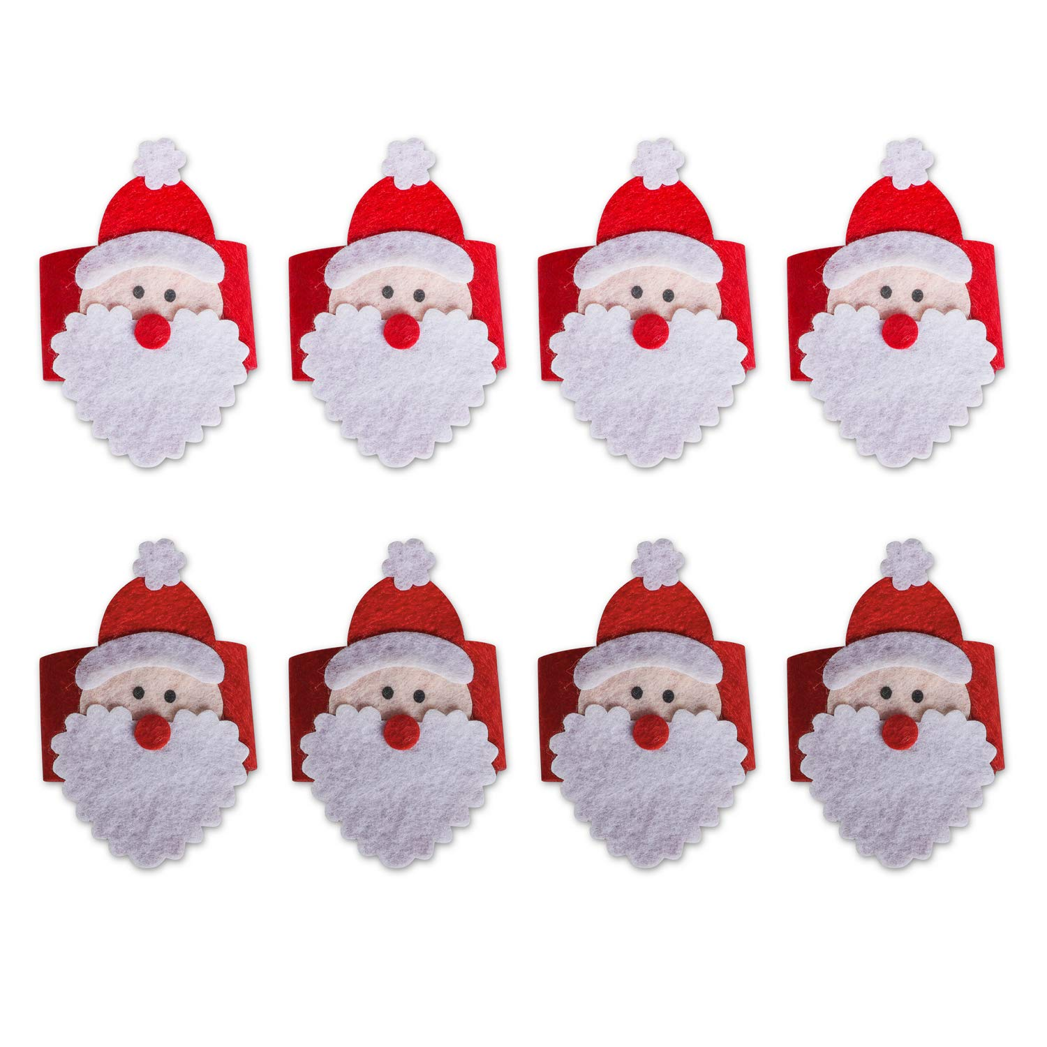 PrettyDate 8pcs Christmas Napkin Rings Napkin Holders Christmas Party Banquet Dinner Table Decor