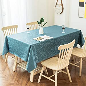 smiry Waterproof Vinyl Tablecloth, Rectangle Heavy Duty Table Cloth, Wipeable Table Cover for Kitchen and Dining Room (Stone Blue, 52